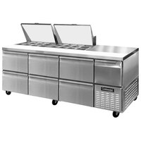 Continental Refrigerator CRA93-24M-D 93 inch 6 Drawer 1 Half Door Mighty Top Refrigerated Sandwich Prep Table