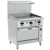 Vulcan 36C-36GTN Endurance Natural Gas 36 inch Range with Thermostatic Griddle and Convection Oven Base - 95,000 BTU