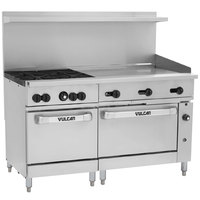 Vulcan 60SC-4B36GN Endurance Natural Gas 4 Burner 60 inch Range with 36 inch Manual Griddle, 1 Standard, and 1 Convection Oven - 238,000 BTU