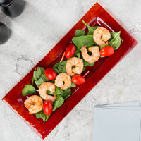 Arcoroc FG935 Tiger 13 3/4 inch x 6 inch Red Glass Rectangular Platter by Arc Cardinal - 24/Case