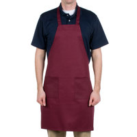 Choice Burgundy Full Length Bib Apron with Pockets - 34 inch x 32 inchW