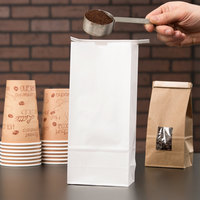 1 lb. White Customizable Paper Coffee Bag with Reclosable Tin Tie - 1000/Case