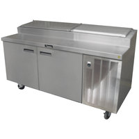 Delfield 18660PTBM 60 inch Two Door Refrigerated Pizza Prep Table