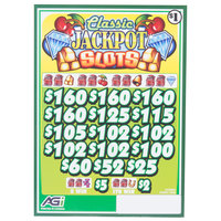 Classic Jackpot Slots 3 Window Pull Tab Tickets - 2548 Tickets Per Deal - Total Payout: $1990