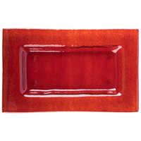 Arcoroc FG937 Tiger 10 inch x 6 inch Red Glass Rectangular Plate by Arc Cardinal - 16/Case