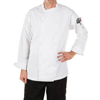 Mercer Culinary M62010WH5X Renaissance Men's 64 inch 5X Customizable White Double Breasted Scoop Neck Jacket