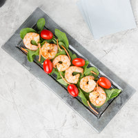 Arcoroc FG936 Tiger 13 3/4 inch x 6 inch Gray Glass Rectangular Platter by Arc Cardinal - 24/Case
