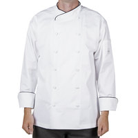 Mercer Culinary M62020WB3X Renaissance Men's 56 inch XXXL Customizable White Double Breasted Scoop Neck Chef Jacket With Black Piping