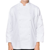 Mercer M62060WHL Renaissance Women's 38 inch L White Double Breasted Traditional Neck Chef Jacket