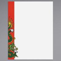 8 1/2 inch x 11 inch Menu Paper - Asian Themed Dragon Design Left Insert - 100/Pack