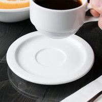 Syracuse China 911194023 Reflections 5 inch Aluma White Porcelain Tea / Espresso Saucer - 36/Case
