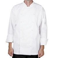 Mercer M62030WHS Renaissance Men's 36 inch Small White Double Breasted Traditional Neck Chef Jacket