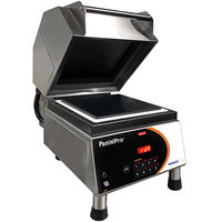 Nemco 6900A-GF PaniniPro Single High-Speed Panini Press with Grooved Top and Flat Bottom Plates - 10 1/2 inch x 10 1/2 inch Cooking Surface - 240V, 5760W
