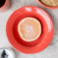 Syracuse China 903034019 Cantina 12 oz. Cayenne Carved Porcelain Grapefruit Dish - 12/Case