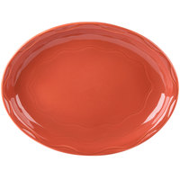 Syracuse China 903034001 Cantina 13 5/8 inch Cayenne Carved Porcelain Oval Platter - 6/Case