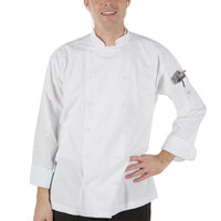 Mercer Culinary M62030WHM Renaissance Men's 40 inch Medium Customizable White Double Breasted Traditional Neck Chef Jacket