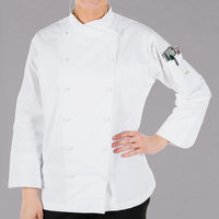 Mercer Culinary M62040WHM Renaissance Women's 36 inch M Customizable White Double Breasted Scoop Neck Chef Jacket