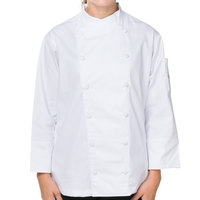 Mercer M62040WHM Renaissance Women's 36 inch M White Double Breasted Scoop Neck Chef Jacket