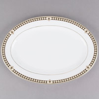 Syracuse China 911191023 Baroque 10 1/4 inch Bone China Oval Platter - 12/Case