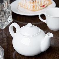 Syracuse China 911194505 Reflections 14 oz. Aluma White Porcelain Teapot with Lid - 12/Case