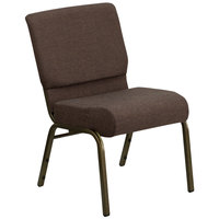 Brown 21 inch Extra Wide Church Chair with Gold Vein Frame
