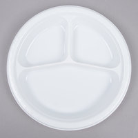 Creative Converting 019992 10 inch 3 Compartment White Plastic Plate   - 200/Case