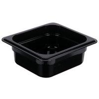 1/6 Size Black Polycarbonate Food Pan - 2 1/2 inch Deep