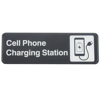 Tablecraft 394565 Cell Phone Charging Station Sign - Black and White, 9 inch x 3 inch
