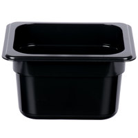 1/6 Size Black Polycarbonate Food Pan - 4 inch Deep