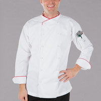 Mercer Culinary M62015WR4X Renaissance Men's 60 inch 4X Customizable White Double Breasted Scoop Neck Jacket With Red Piping