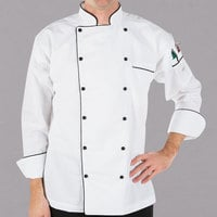 Mercer Culinary M62090WB4X Renaissance Men's 60 inch XXXXL Customizable White Double Breasted Traditional Neck Chef Jacket with Full Black Piping