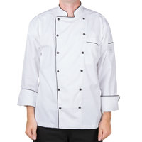 Mercer M62090WBM Renaissance Men's 40 inch M Customizable White Double Breasted Traditional Neck Chef Jacket with Full Black Piping