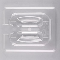 Cambro 80CWCHN135 Camwear 1/8 Size Clear Polycarbonate Handled Lid with Spoon Notch
