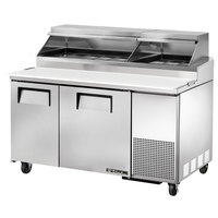 True TPP-60 60 inch Refrigerated Pizza Prep Table with Telescoping Hood