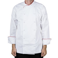Mercer Culinary M62015WRXS Renaissance Men's 32 inch XS Customizable White Double Breasted Scoop Neck Jacket With Red Piping