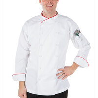 Mercer Culinary M62015WRM Renaissance Men's 40 inch Medium Customizable White Double Breasted Scoop Neck Jacket With Red Piping