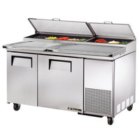 True TPP-60 60 inch Refrigerated Pizza Prep Table with Topping Catcher