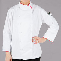 Mercer Culinary Renaissance Women's 49 inch XXXL Customizable White Double Breasted Scoop Neck Chef Jacket with Red Piping