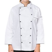 Mercer M62095WBL Renaissance Women's 38 inch L Customizable White Double Breasted Traditional Neck Chef Jacket with Full Black Piping