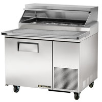 True TPP-44 44 inch Refrigerated Pizza Prep Table with Topping Catcher and Telescoping Hood
