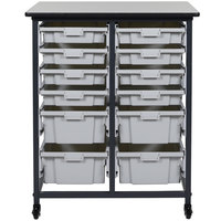 Luxor / H. Wilson MBS-DR-8S4L Mobile Bin Storage Unit - 8 Small and 4 Large Bin Capacity