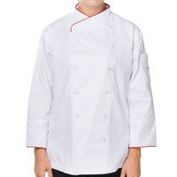 Mercer M62045WRM Renaissance Women's 36 inch M White Double Breasted Scoop Neck Chef Jacket with Red Piping