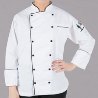 Mercer Culinary Renaissance Women's 49 inch XXXL Customizable White Double Breasted Traditional Neck Chef Jacket with Full Black Piping