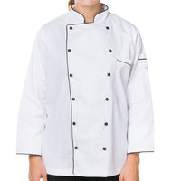 Mercer Culinary M62095WBS Renaissance Women's 34 inch S Customizable White Double Breasted Traditional Neck Chef Jacket with Full Black Piping