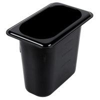 Carlisle 3068803 StorPlus 1/9 Size Black Food Pan - 6 inch Deep