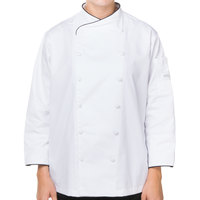 Mercer Culinary M62050WBXXS Renaissance Women's 31 inch XXS Customizable White Double Breasted Scoop Neck Chef Jacket with Black Piping