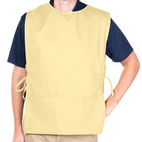29 inch x 17 1/2 inch Yellow Poly-Cotton Cobbler Apron with Two Pockets