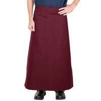 38 inch x 33 1/2 inch Burgundy Two Pocket Poly-Cotton Bistro Apron