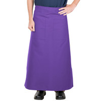 38 inch x 33 1/2 inch Purple Two Pocket Poly-Cotton Bistro Apron