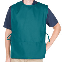29 inch x 17 1/2 inch Teal Poly-Cotton Cobbler Apron with Two Pockets